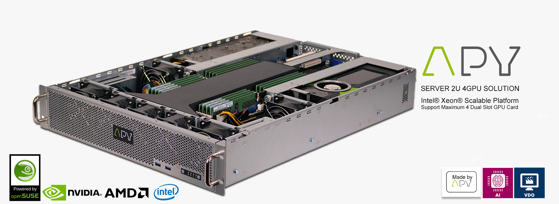 Discover the APY ONE G4 U 4 GPU server made in APY